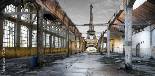Poster Paesaggio di Parigi post apocalittico