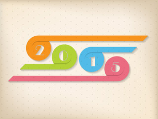 Year 2015 background with colorful ribbons