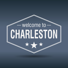 welcome to Charleston hexagonal white vintage label