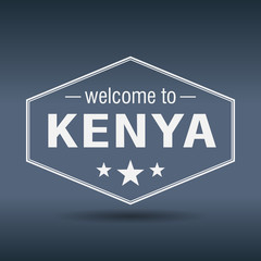 welcome to Kenya hexagonal white vintage label