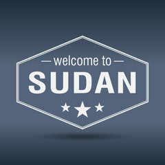 welcome to Sudan hexagonal white vintage label