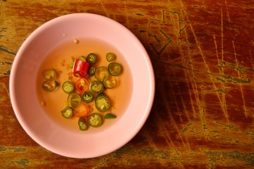 Fresh Chilli in Fish Sauce on Table