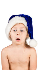 Little naked girl in a Christmas hat