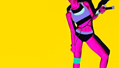 Crazy bright fitness girl. Sports fashion accessories