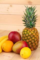 Fruit variety on wood.
