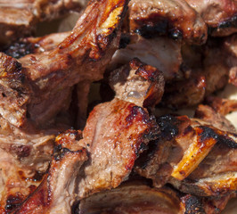 Grilled meat on pita. Close up.
