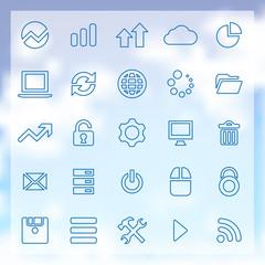 25 big data, database icons set