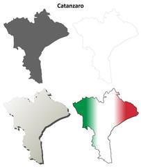 Catanzaro blank detailed outline map set