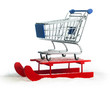 Wooden red sled with shopping cart - 72140615