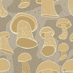 Seamless pattern with cep mushroom