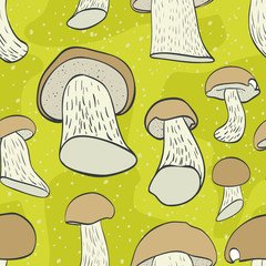 Seamless pattern with cep mushroom