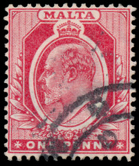 Stamp printed in Malta shows image of the George V