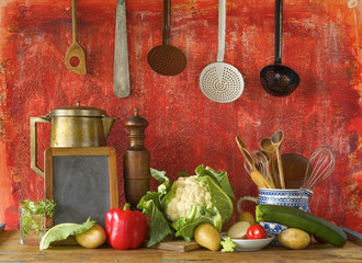 black board for recipe, kitchen utensils and vegetables, free co