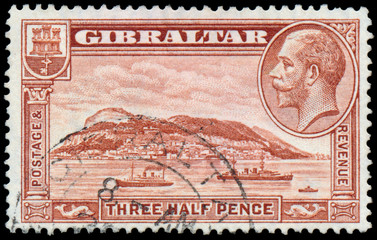 Stamp printed in UK shows image of the George V
