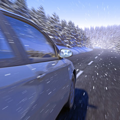 KFZ im Winter bei Schneefall