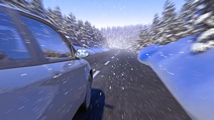 PKW im schneefall