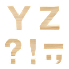 Wooden block letter set isolated