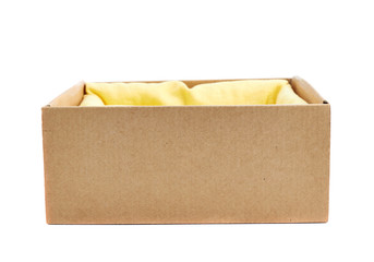 Opened cardboard box isolated