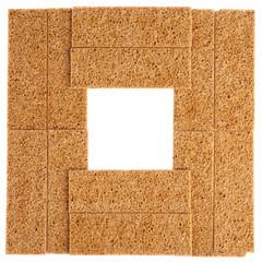 Square frame made of bread cracker snacks