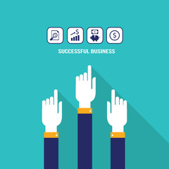 Businessman hands pointing on web icons.Successful business