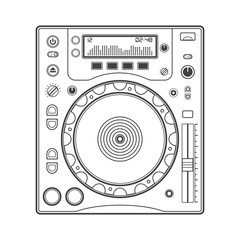 vector outline cd turntable