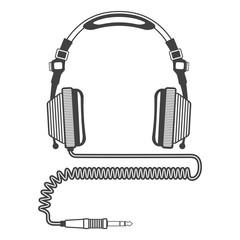 vector Outline Big dj Headphones coiled cord jack connector