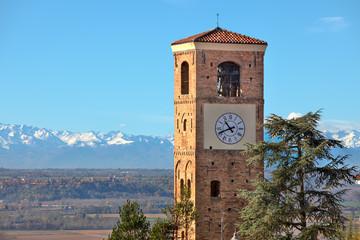Old belfry. Santa Vittoria D'Alba, Italy.