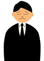 礼服を着て悲しい顔をした男性のイラスト