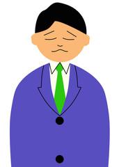 悲しい表情をした男性のイラスト