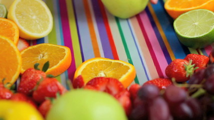Close up Chopping fruit in colorful kitchen scene