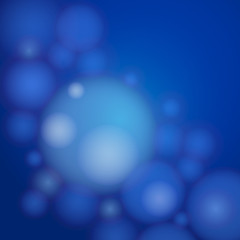 White transparent bubbles on a blue background.