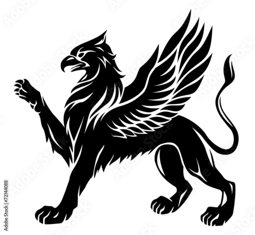 Standing griffin with lifted paw - 72144088