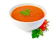 Soup tomato in white bowl with parsley and tomatoes - 72145255