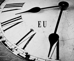 European union black and white clock face