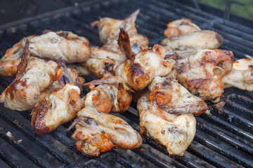 Chicken wings on the grille.