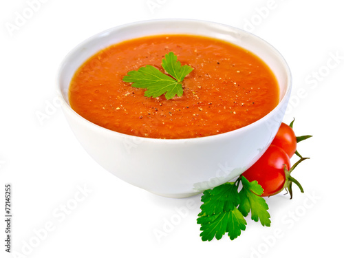 Poster Voorgerecht Soup tomato in white bowl with parsley and tomatoes
