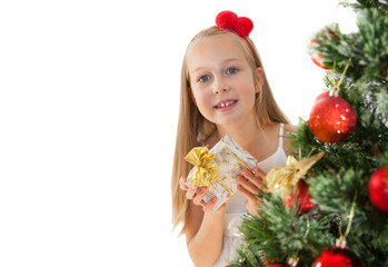 Girl decorating Christmas tree, background template