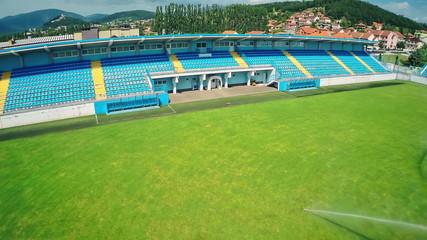 Soccer stadium, aerial shot