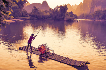 Yangshuo, July 31 2014, Li River at sunset