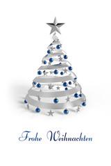 Weihnachtskarte Frohe Weihnachten blau