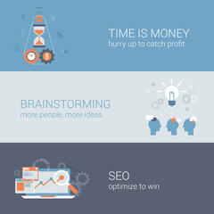 Business time is money brainstorming SEO flat web template