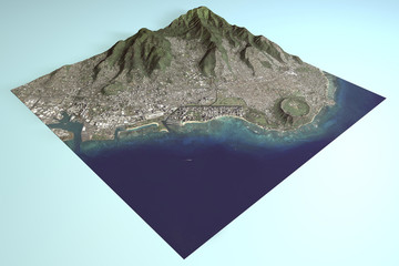 Hawaii, Honolulu, Waikiki‎, vista satellitare, sezione in 3d