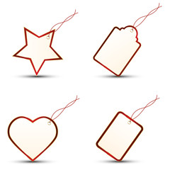 4 Gift Tags RED