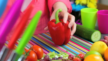 preparing peppers in colorful kitchen scene
