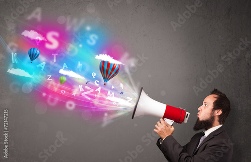 canvas print picture Man shouting into megaphone and abstract text and balloons come