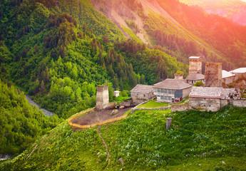 View of the village Adishi. Upper Svaneti, Georgia, Europe. Cauc
