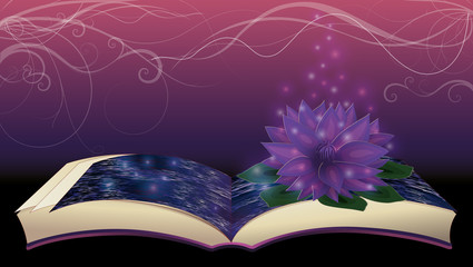Magic book with  lotus flower, vector illustration