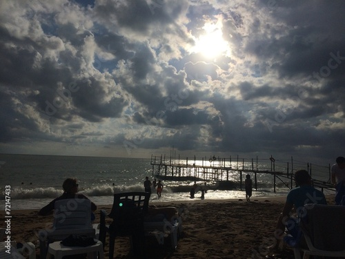 canvas print picture wolkenbruch am strand