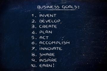 list of business goals for success