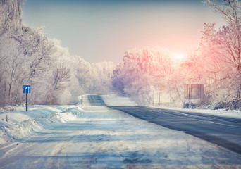 Beautiful winter landscape with a highway.